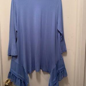 LOGO Regular Knit Cardigan w/Pleat Chiffon Bottom